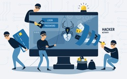 Criminals, burglars or crackers wearing black hats, masks and clothes stealing personal information from computer. Concept of hacker internet activity or security hacking. Cartoon vector illustration.