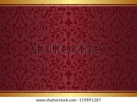 crimson and gold background with ornaments