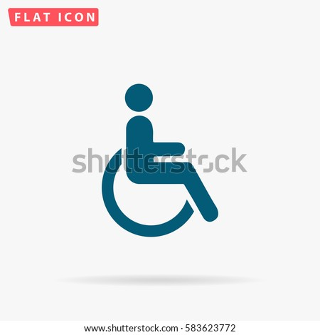 Cripple Icon Vector. Flat simple Blue pictogram on white background. Illustration symbol with shadow
