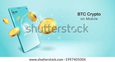 Cripto currency, Bitcoin Crypto on Mobile. Banner Vector