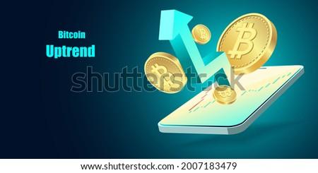 Cripto currency, Bitcoin Crypto on Mobile.Bitcoin currency. Crypto coin with growth graph. International stock exchange. Bitcoin uptrend