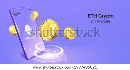 Cripto currency, ethereum Crypto on Mobile. Banner Vector