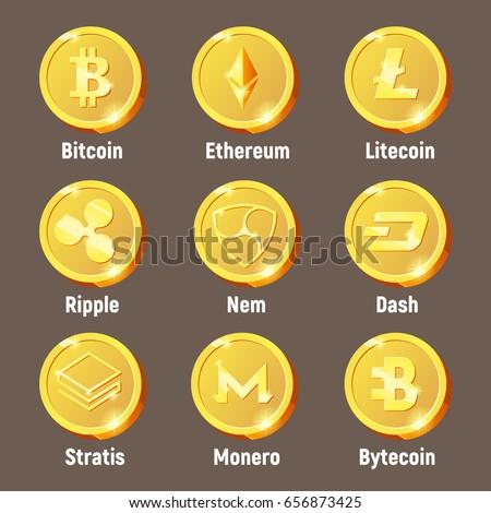 Cripto currency logo coins: Monero, Bytecoin, Stratis, Dash, Litecoin, Nem, Ripple, Ethereum, Bitcoin. Vector set for apps and websites
