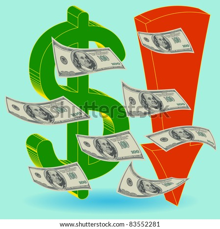 Crisis finance - the dollar symbol  arrow downward - devaluation money - symbolizing the bankruptcy or devaluation of money - stock vector
