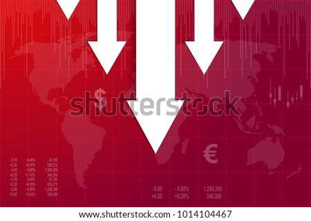 Crisis of economy with white lines on red background.