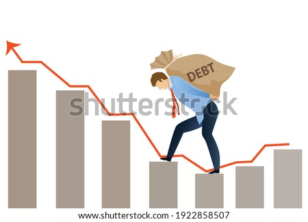Crisis of high burden of consumer debt, : Client bears a bag of debt Debtor has difficult problem of bad debt and plan to pay back to lender or creditor.financial concept