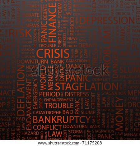 CRISIS. Seamless vector pattern with word cloud.