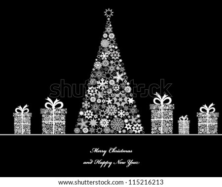 Crisrmas tree with cristmas gift boxes from snowflakes. Vector
