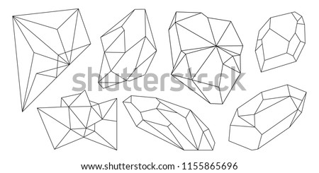 Cristal vector illustration with mosaic texture. Abstract modern geometric objects with diamond shapes, crystals, gems