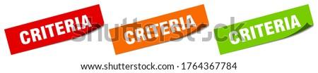 criteria sticker. criteria square isolated sign. criteria label Stock photo ©