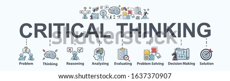 Critical thinking banner web icon for problem solving, creative, thinking, reasoning, analyzing, decision making and solution. Minimal vector cartoon infographic.