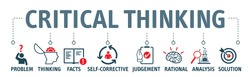Critical thinking Vector Illustration concept.  Banner with icons and keywords. Critical thinking is the analysis of facts to form a judgement