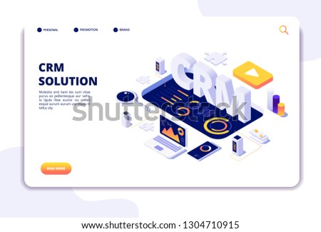 CRM CONCEPT. CUSTOMER RELATIONSHIP MANAGEMENT. Business system solution. Client support landing page