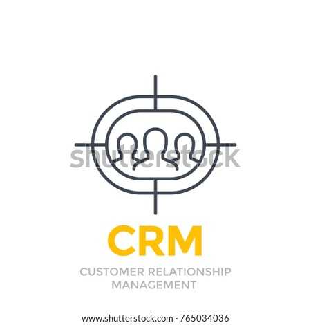 CRM, customer relationship management line icon on white