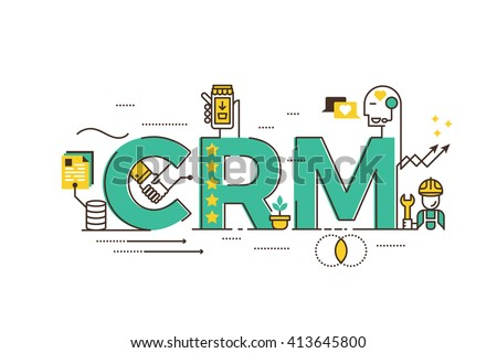 CRM : Customer relationship management word lettering typography design illustration with line icons and ornaments in green theme