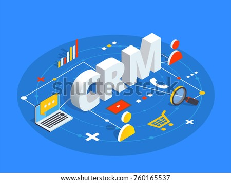 CRM isometric vector illustration. Customer relationship management concept background. Customer and company interaction approach.