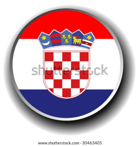 croatia flag icon - vector button