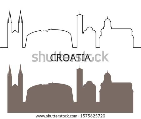 Croatia logo. Isolated Croatian architecture on white background