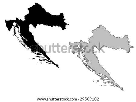 Croatia map. Black and white. Mercator projection.