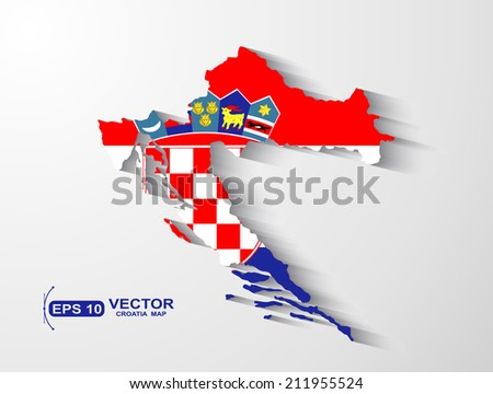 Croatia map with shadow effect