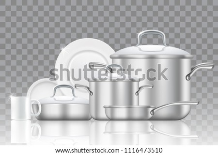 Crockery and cookware icon set. Vector realistic dishes, cup, frying pan, saucepan isolated on transparent background.