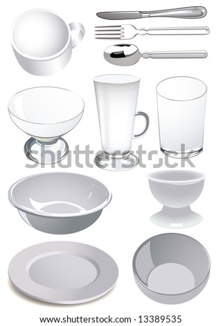 Crockery, vector illustration, EPS file included