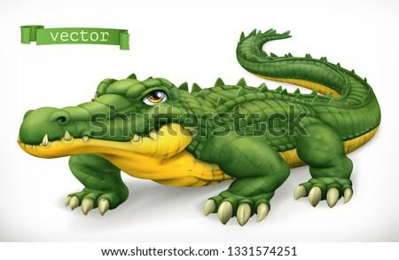 Crocodile, alligator. Funny character. Animal 3d vector icon