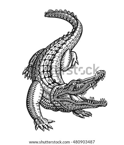 Crocodile, alligator or animal painted tribal ethnic ornament. Hand drawn vector illustration with decorative elements