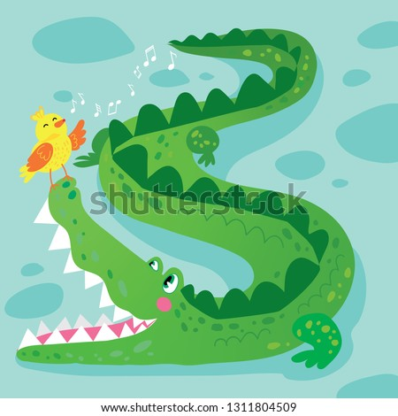 Crocodile and Bird Funny Kid Graphic Illustration. African Reptile Animal Mascot Character on Nature Background. Simple Colorful Alligator in Tropical Wildlife Flat Cartoon Vector Drawing