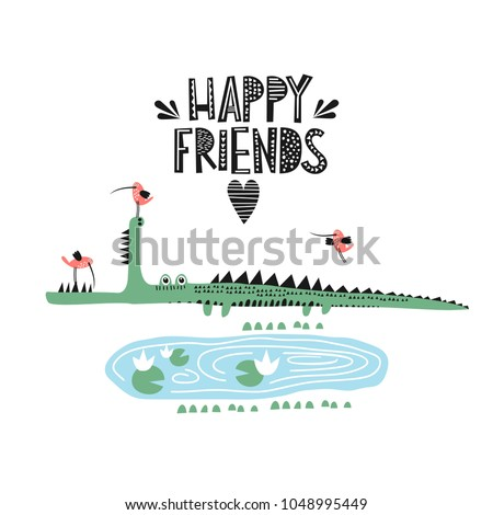 Crocodile and bird illustration vector for print. Happy friends.