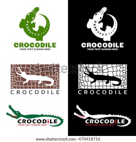 Crocodile and crocodile texture logo vector set design