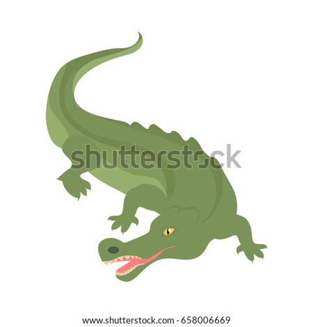 Crocodile cartoon character. Scary green crocodile with open mouth flat isolated vector. African fauna. Crocodile icon. Wild animal illustration for zoo ad, nature concept, children book illustrating