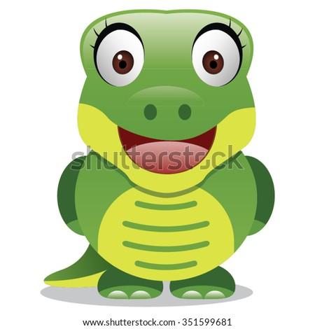 crocodile cartoon   happy green