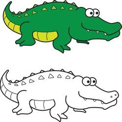 Crocodile croc vector drawing animal vector drawing, cartoon vector, line art and color