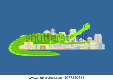 crocodile eat city rampage