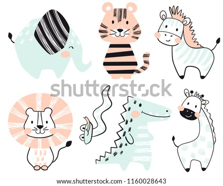 Crocodile, elephant, tiger, zebra, lion, giraffe, snake baby cute print set. Sweet zoo. Cool african animal illustration for nursery t-shirt, kids apparel, invitation, simple scandinavian child design