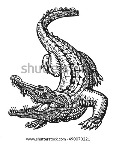 stock-vector-crocodile-hand-drawn-ethnic-patterns-alligator-animal-sketch-vector-illustration