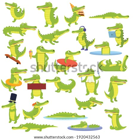 Crocodile icons set. Cartoon set of crocodile vector icons for web design