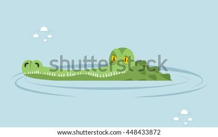 crocodile in water. large...