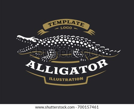 Crocodile logo - vector illustration. Alligator emblem design on black background
