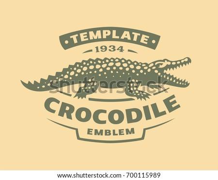 Crocodile logo - vector illustration. Alligator emblem design on light background
