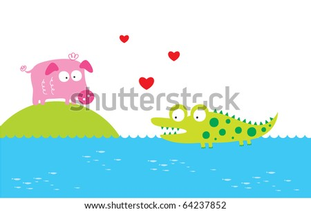 crocodile love piggy