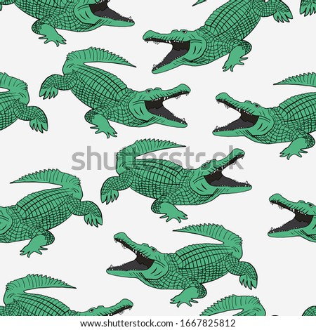 Crocodile pattern and repeating seamless. Animal pattern and textile design. Vector illustration, green colored crocodiles fashionable print.