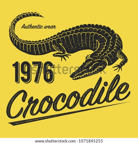 Crocodile poster, print for T-shirt. Alligator emblem or badge on yellow background. Reptiles or amphibians. Tropical animal. Engraved hand drawn in old vintage sketch. Vector illustration.