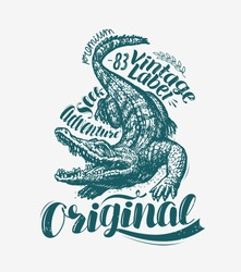 Crocodile t-shirt design. Alligator, drawn animal vintage vector illustration