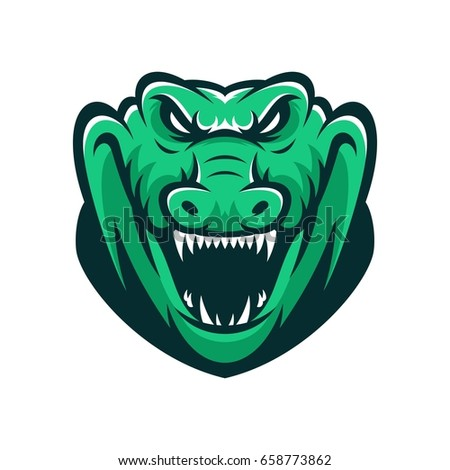 crocodile wild animal head mascot vector illustration logo