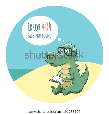 Crocodile With a Book Funny Error 404 Page Illustration