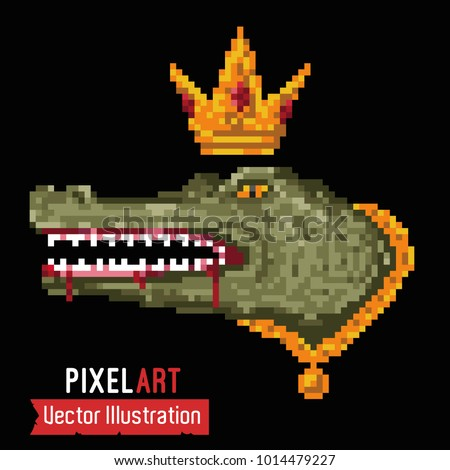 Crocodile with gold chain and crown on his head. Pixelart SWAG alligator, image for printing on clothes, stickers, souvenirs. Element of design for rap album. Vector illustration on black background