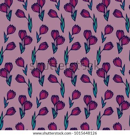 Crocus flowers. Floral seamless pattern. Vintage decorative elements. Floral ornament.