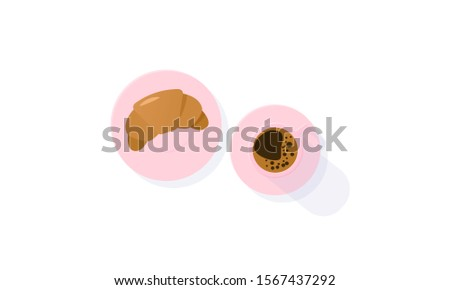 Croissant and coffee vector illustration. Flat lay - crescent shaped pastry croissant and cup of coffee. Caffeine addiction, baking, culinary, breakfast concepts. Austrian cuisine, French cuisine.